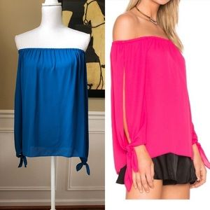 NWT Three Eighty Two Open Sleeve off Shoulder Top
